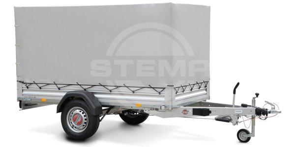 Stema ALU STL 1300 O2 13-25-13.1 - SySTEMA light - Pkw Anhänger mit Plane grau und Spriegel 100 cm
