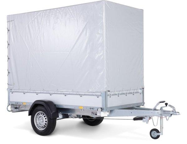 Stema STL 1300 O2 13-25-13.1 - SySTEMA light - Pkw Anhänger mit Plane grau und Spriegel 150 cm